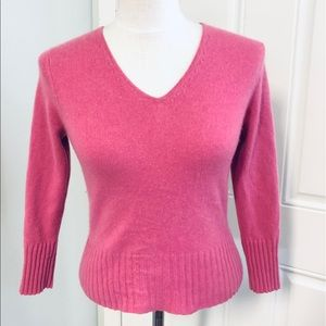 Ann Taylor cashmere v neck fluffy fuzzy sweater